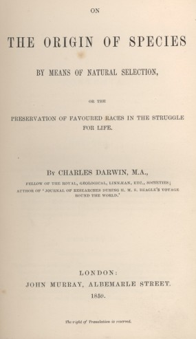 Title page to the Origin of Species
