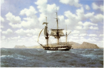 HMS Beagle in the Galapagos
